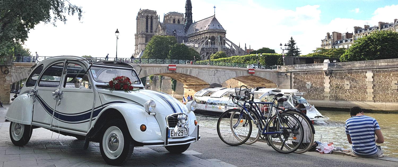 Location 2CV à Paris, 2cv Paris Tour, visite de paris en 2cv avec chauffeur - Quai